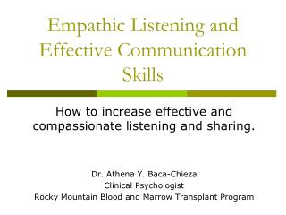 Empathic Listening and Effective Communication Skills