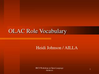OLAC Role Vocabulary