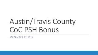 Austin/Travis County  CoC  PSH Bonus