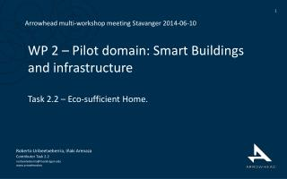 WP 2 –  Pilot domain: Smart Buildings and infrastructure Task 2.2 – Eco-sufficient Home.