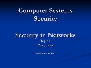 Computer Systems Security Security in Networks