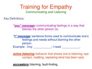 Training for Empathy Communicating and Listening