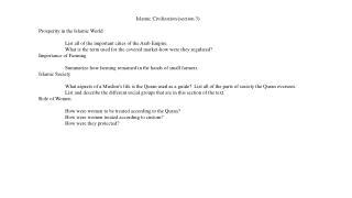 Islamic Civilization (section 3) Prosperity in the Islamic World