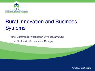 Rural Innovation and Business Systems