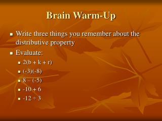 Brain Warm-Up