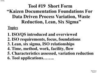 Tool #19  Short Form