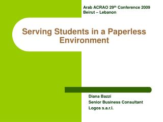 Serving Students in a Paperless Environment