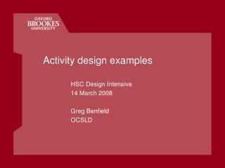 Activity design examples