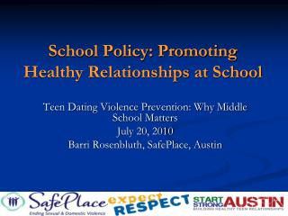 School Policy: Promoting Healthy Relationships at School
