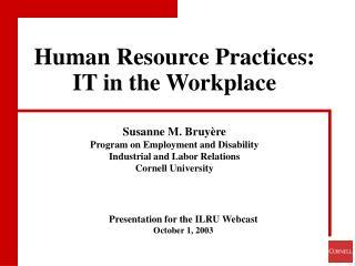 Presentation for the ILRU Webcast October 1, 2003