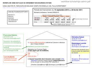 WORKFLOW: MISE EN PLACE DU VERSEMENT DES BOURSES D'ETUDE