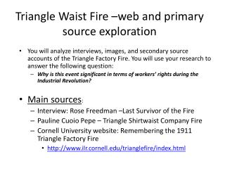 Triangle Waist Fire –web and primary source exploration