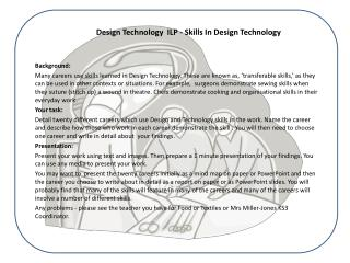 Design Technology  ILP - Skills In Design Technology
