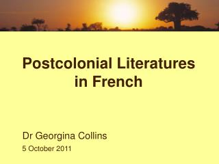 Postcolonial Literatures in French