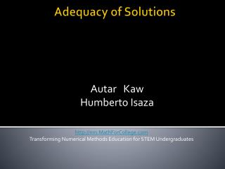 Adequacy of Solutions
