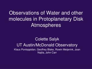 Observations of Water and other molecules in Protoplanetary Disk Atmospheres