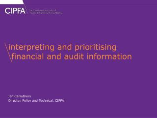 interpreting and prioritising financial and audit information