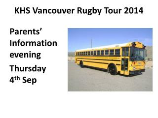 KHS Vancouver Rugby Tour 2014