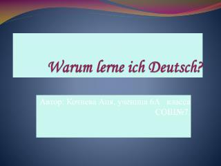 Warum lerne ich  Deutsch?