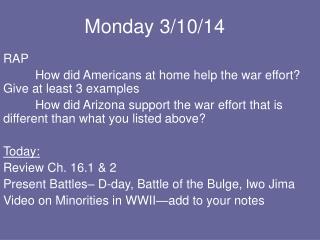 Monday 3/10/14