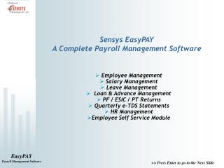 Sensys EasyPAY A Complete Payroll Management Software