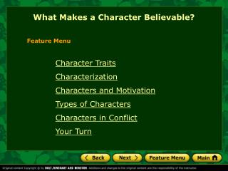 What Makes a Character Believable?