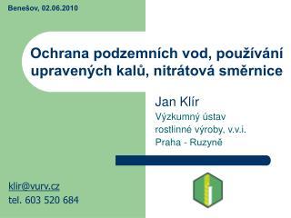 Ochrana podzemních vod, používání upravených kalů, nitrátová směrnice