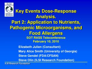 Key Events Dose-Response Analysis. Part 2: Application to Nutrients, Pathogenic Microorganisms, and Food Allergens SOT R