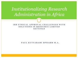 Institutionalizing Research Administration in Africa