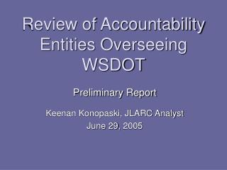 Review of Accountability Entities Overseeing WSDOT