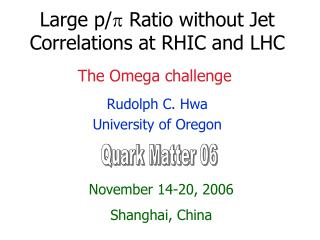Large p/ ? Ratio without Jet Correlations at RHIC and LHC