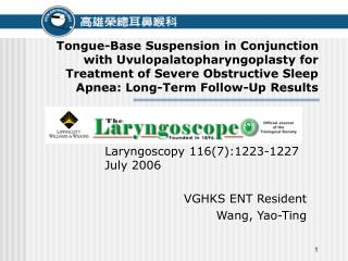 Tongue-Base Suspension in Conjunction with Uvulopalatopharyngoplasty for Treatment of Severe Obstructive Sleep Apnea: Lo