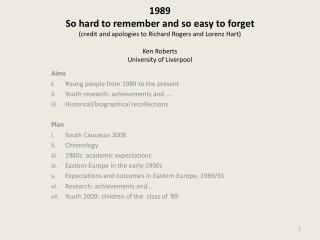 1989 So hard to remember and so easy to forget credit and apologies to Richard Rogers and Lorenz Hart  Ken Roberts Unive