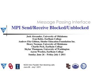 MPI Send/Receive Blocked/Unblocked