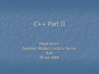 C++ Part II
