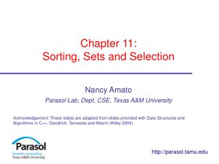 Chapter 11:  Sorting, Sets and Selection