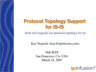 Protocol Topology Support for IS-IS