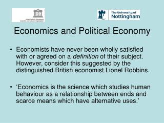 Economics and Political Economy