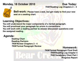 Due Today:  TKM  Reading Log Chapters 2 – 4