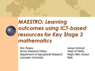 MAESTRO: Learning outcomes using ICT-based resources for Key Stage 3 mathematics