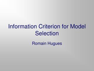 Information Criterion for Model Selection