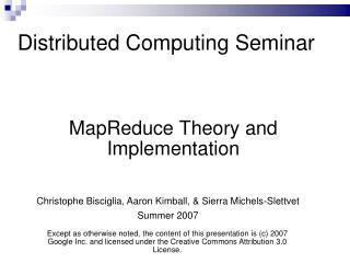 Distributed Computing Seminar