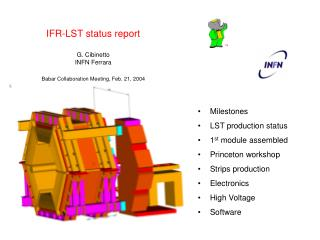IFR-LST status report G. Cibinetto INFN Ferrara Babar Collaboration Meeting, Feb. 21, 2004