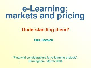 e-Learning: markets and pricing