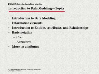 Introduction to Data Modeling�Topics