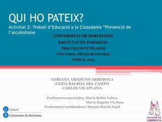 """QUI HO PATEIX? Activitat  2:  Treball d'Educació  a la  Ciutadania  """" Prevenció  de  l'alcoholisme"""