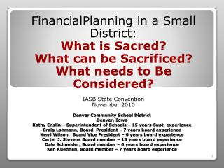 Financial P lanning  in a  Small District :  What  is Sacred?  What  can be Sacrificed?