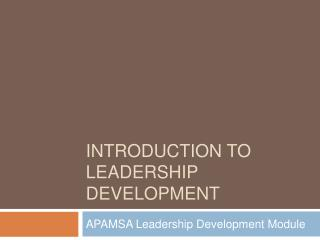 Introduction to Leadership Development