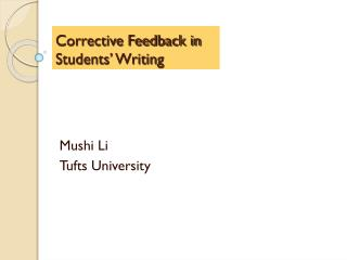 Corrective Feedback in Students� Writing