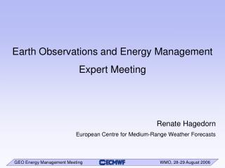 Earth Observations and Energy Management  Expert Meeting